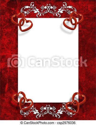 corações, valentines, borda, dia, vermelho - csp2976036