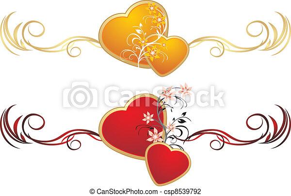 corações, vermelho, ouro - csp8539792