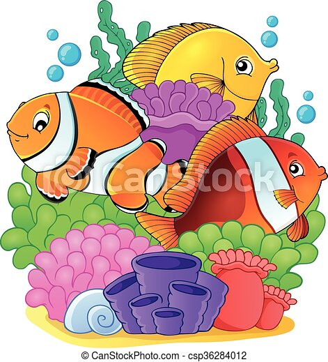 coral reef fish theme image 6 eps10 vector illustration vector rh canstockphoto com coral reef animals clipart coral reef plants clipart