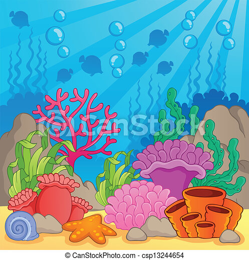coral reef theme image 3 vector illustration rh canstockphoto com coral reef clipart black and white images coral reef clipart