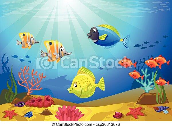 Coralli fondo marino vectorial coralli illustrazione for Immagini coralli marini