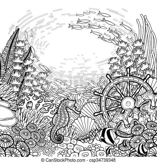 Corallo Disegno Scogliera Arte Fish Disegno Mare Timone Nave