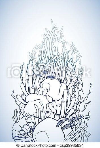 Corallo Disegno Scogliera Arte Adulti Disegno Colors Oceano