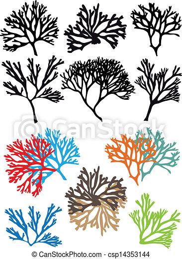 corals reefs, vector set - csp14353144