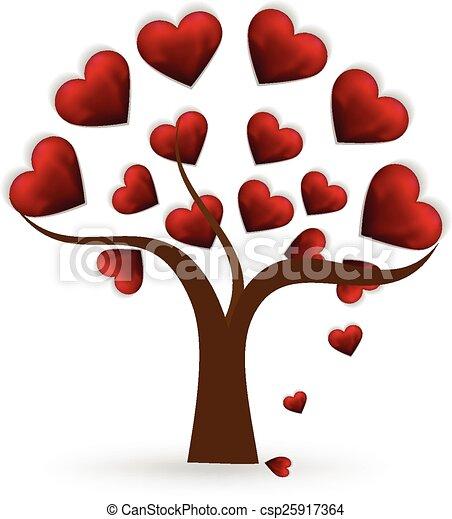 Corazón árbol Amor Logotipo Corazón Amor árbol Vector