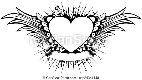 Corazón Alas Resumen Vector Alas Ilustración Marco