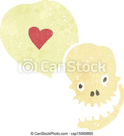 Cráneo de dibujos animados con corazón de amor - csp15069860