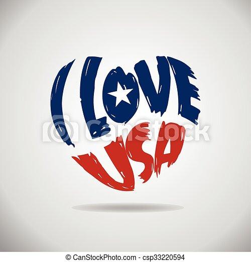 Me encanta el logo del corazón de EE.UU. - csp33220594