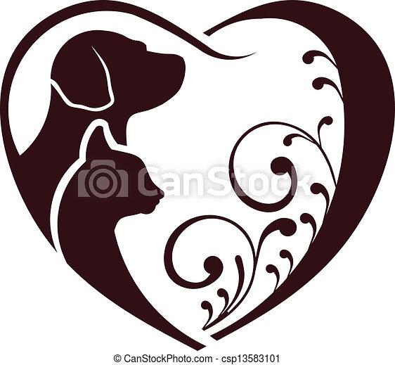 El perro gato ama el corazón - csp13583101