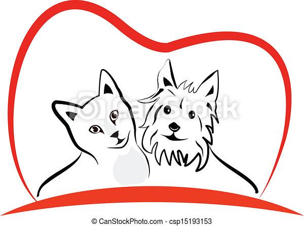 Al gato y al perro les encanta el vector del logo del corazón - csp15193153