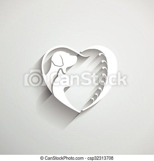 A Dog Cat le encanta la ilustración del vector del corazón - csp32313708