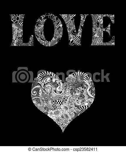 Ilustración de tipografía de amor con corazón - csp23582411