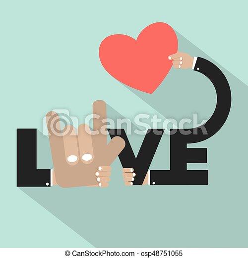 Amor con corazón en mano ilustración de vectores de diseño de tipografía - csp48751055