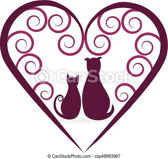 A los perros y a los gatos les encanta el logo vintage - csp48983967