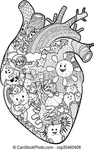 Corazón, anatómico, doodles, divertido. Corazón, divertido, textura ...