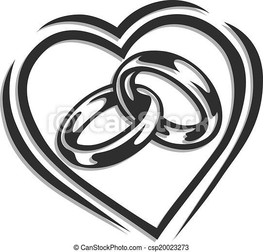 corazón, anillo, boda - csp20023273