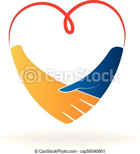 vector de acuerdo de apretón de manos del corazón - csp59340901