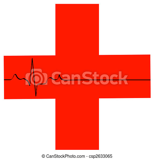 Simbolo de primeros auxilios con ritmo cardíaco plano - csp2633065