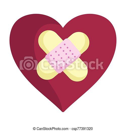 corazón, ayuda, triste, venda, amor, día, valentines, feliz - csp77391320