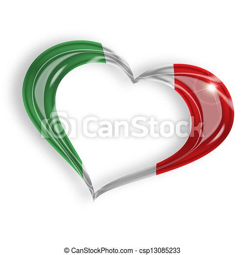 Corazón con bandera italiana colores en el fondo blanco - csp13085233