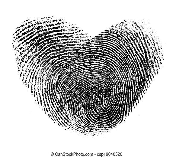 Corazón de huella aislada en blanco - csp19040520