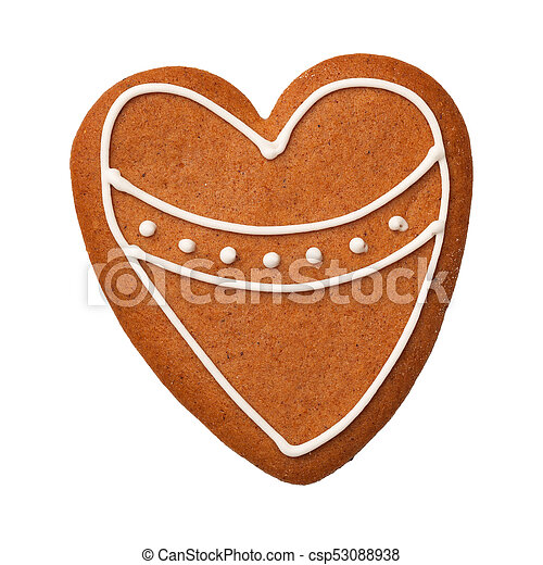 Corazón de pan de jengibre aislado en fondo blanco - csp53088938