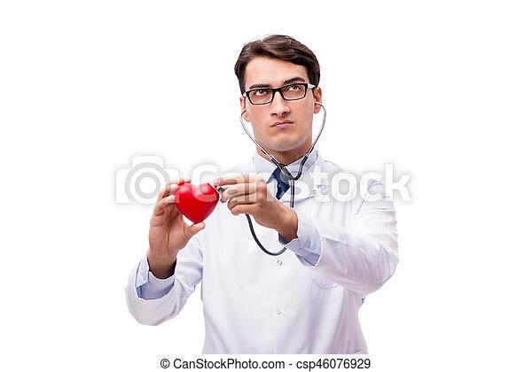 Doctor con el corazón aislado en el fondo blanco - csp46076929