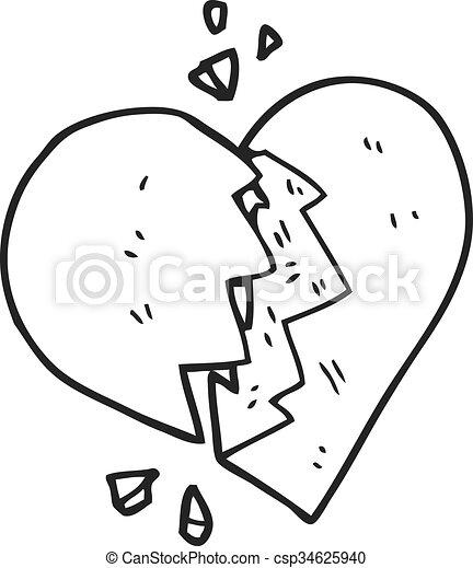 Corazón Blanco Negro Caricatura Roto Corazón Roto Negro