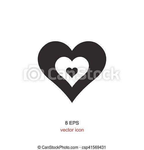Corazón Blanco Negro Icono Corazón Simple Fondo Negro Blanco