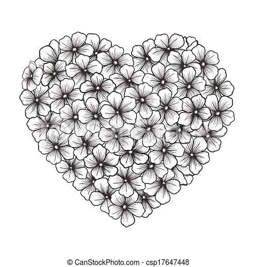 Corazón Blanco Y Negro Flores Contorno Forma