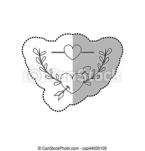 Monocromo de etiqueta con media sombra y media corona de ramas con hojas y corazón con flechas - csp44035105