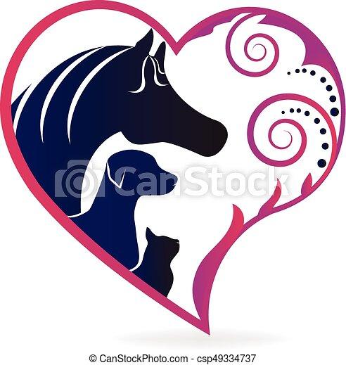 El gato y el perro adoran el logo - csp49334737