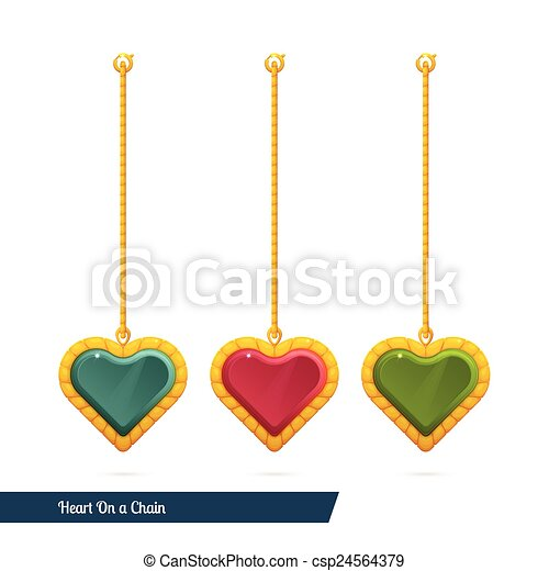 corazón, cadena - csp24564379