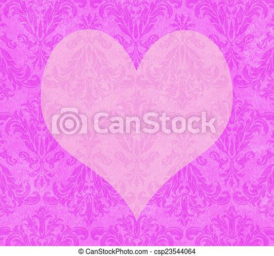 Corazón de San Valentín en damasco rosado - csp23544064