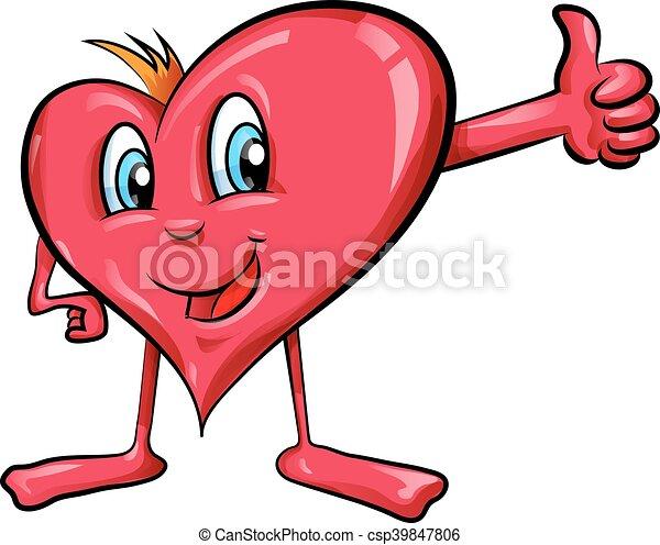 Caricatura del corazón con pulgares arriba - csp39847806