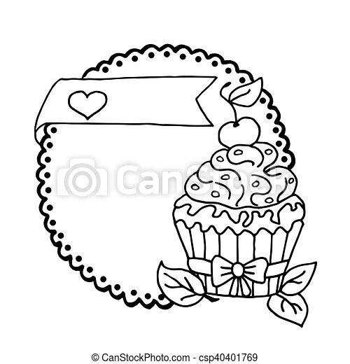 Corazón, cereza, ilustración, alto, pastel, calidad, original.