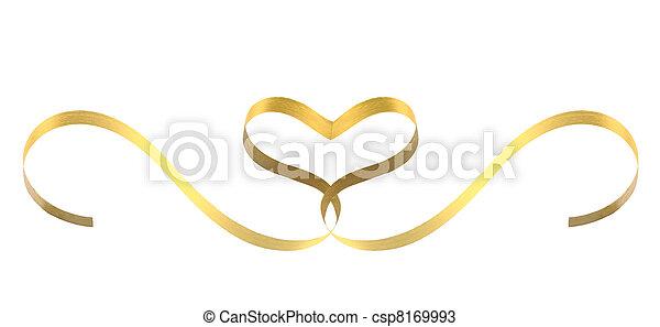 Corazón de cinta dorada - csp8169993