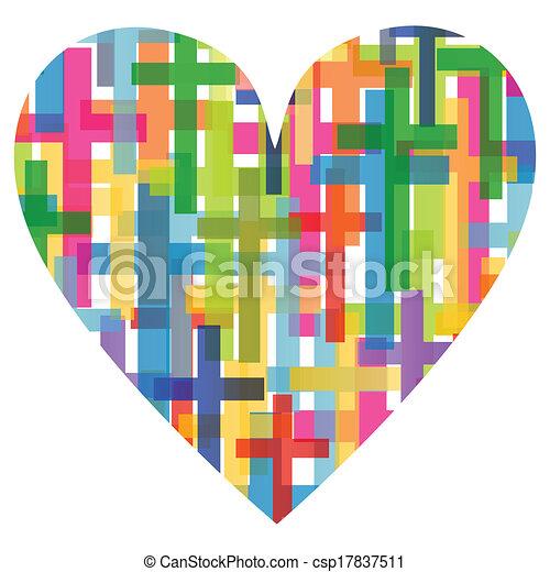 corazón, concepto, cartel, resumen, cruz, ilustración, cristianismo, religión, vector, plano de fondo, mosaico - csp17837511