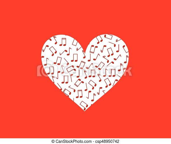 Corazón Concepto Notas Terapia Música Musical Rojo Corazón