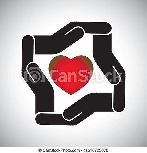 5da4a3f1 Corazón, concepto, protección, vector, seguridad, humano, o. Corazón ...