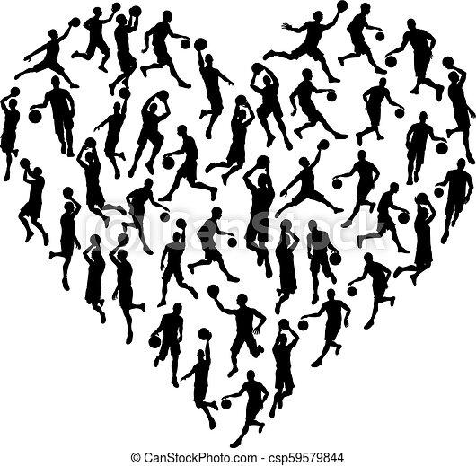 El concepto de silueta del corazón de Bsketball - csp59579844