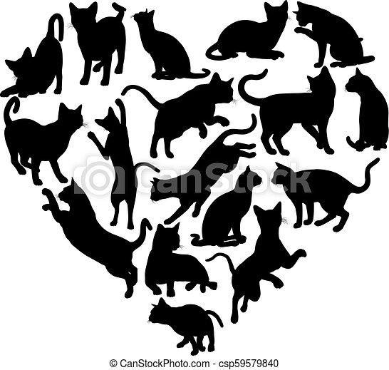 El concepto de silueta del corazón de gato - csp59579840