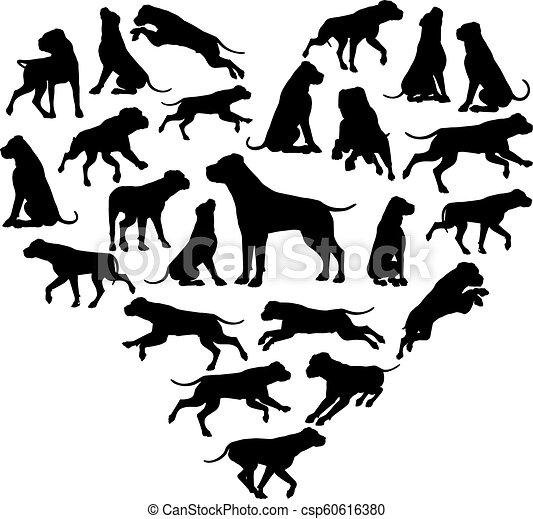 El concepto de silueta del corazón de perro - csp60616380