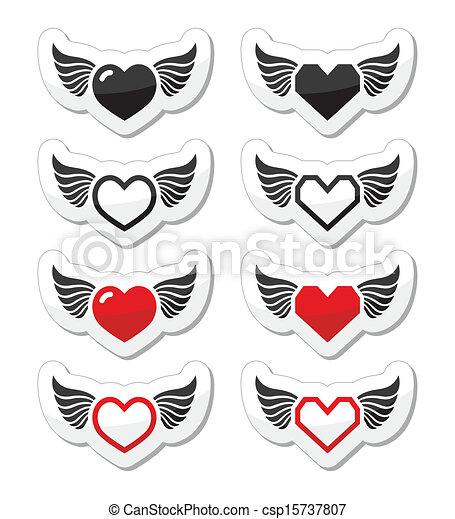Corazón Conjunto Alas Iconos Corazón Conjunto Isoalted