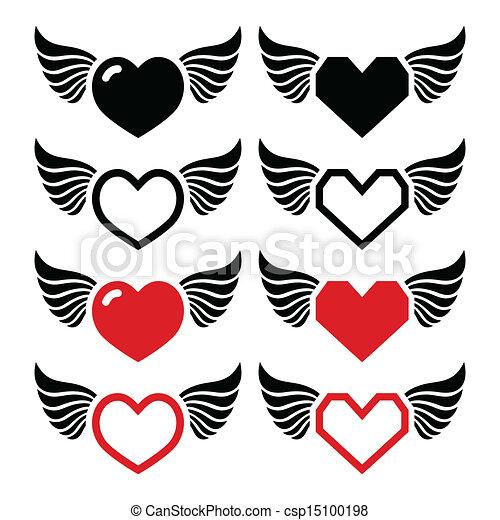 Corazón Conjunto Alas Iconos Corazón Conjunto Isoalted Iconos