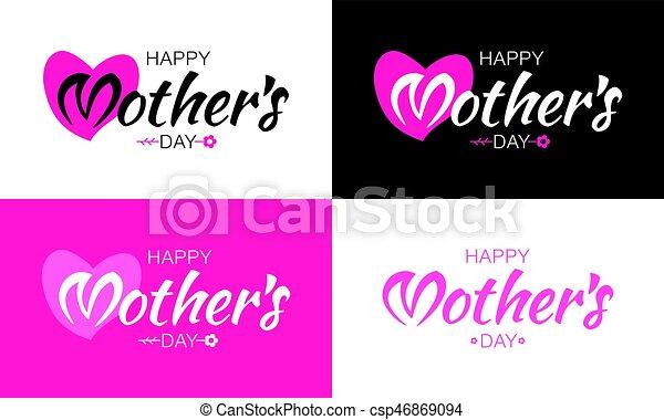 Corazón Conjunto Flower Letras Madre Fondo Forma Vector
