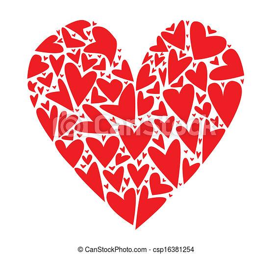 Corazón Corazones Corazón Hecho Encima Arriba Aislado Grande