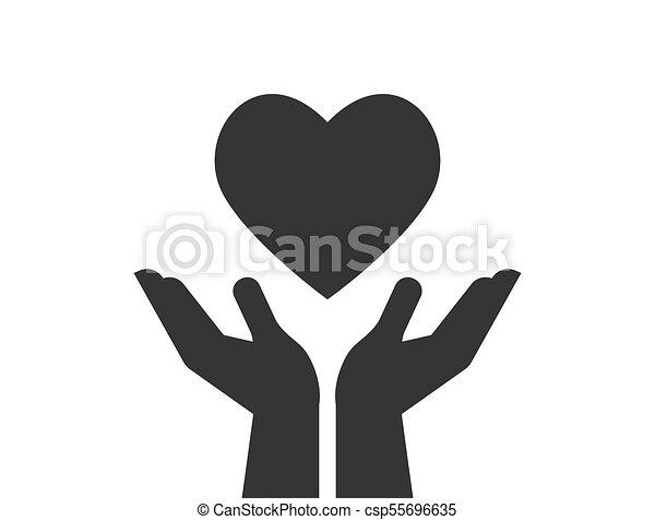 Caridad, donación y icono con las manos en el corazón rojo - csp55696635
