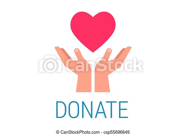 Caridad, dar y donar poster con las manos en el corazón rojo - csp55696649