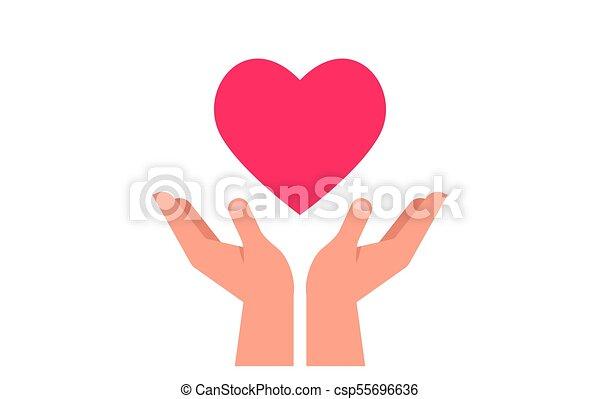 Caridad, dar y donar poster con las manos en el corazón rojo - csp55696636